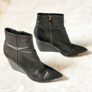 Rachel Zoe Black Wedge Leather Nadia Ankle Boots